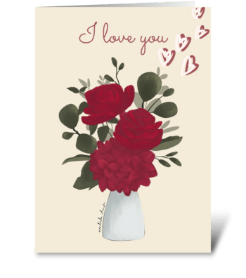 Red Rose and Hydrangea in a Vase greeting card