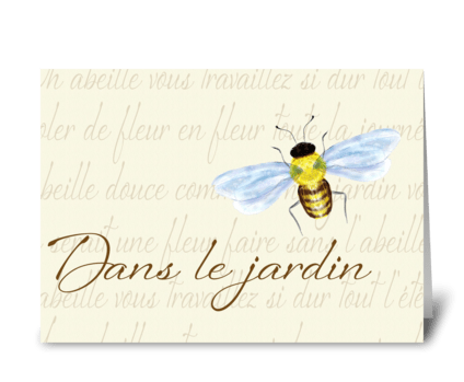 In the Garden, Bee Design greeting card