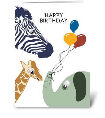 Happy Birthday Jungle Zoo Animals With B greeting card