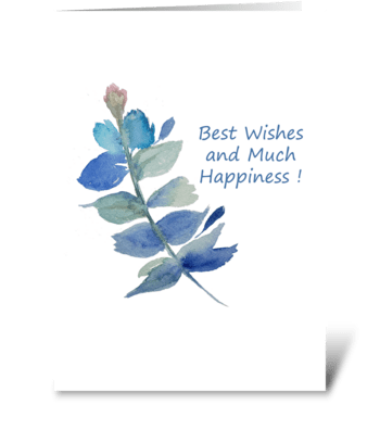Best Wishes Botanical Watercolor Card greeting card