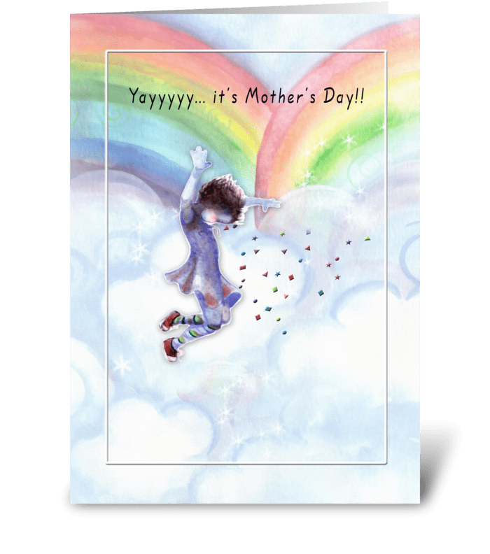 Mother's Day, Jumpimg over Rainbows greeting card