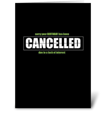 Cancelled  greeting card