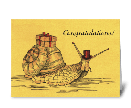 Congratulations_escargot-cargo greeting card