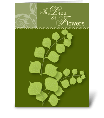 In Lieu of Flowers - Leaves Sympathy greeting card