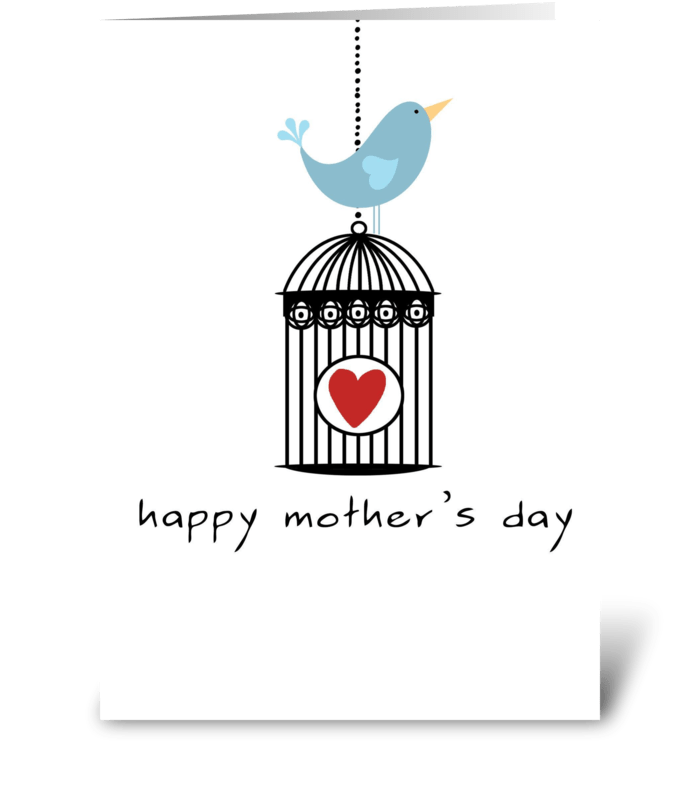 Mother's Day Birdcage with Heart greeting card