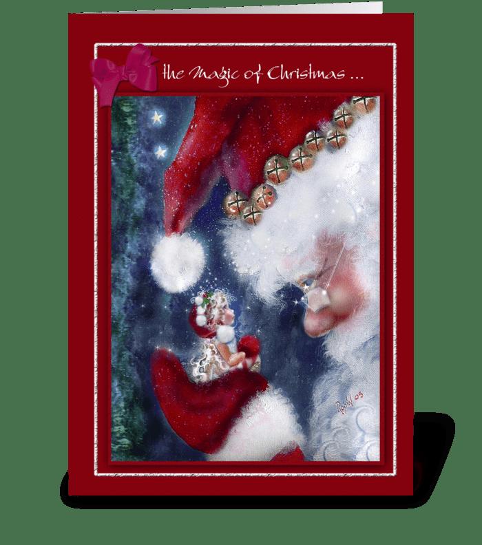 Magic of Christmas, Santa and Elf greeting card
