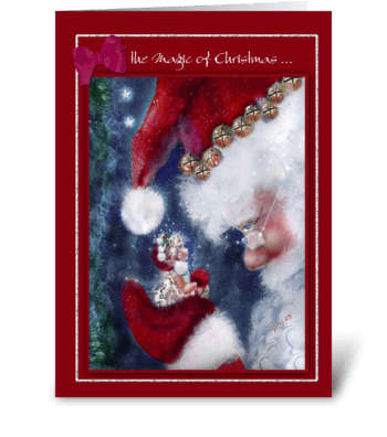 Magic of Christmas, Santa and Elf greeting card