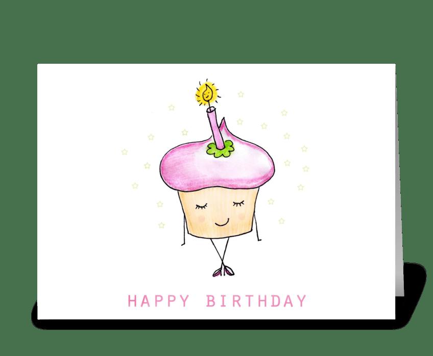 Cute Birthday Cupcake greeting card
