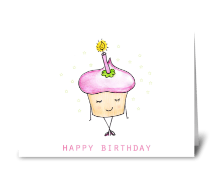 Cute Birthday Cupcake greeting card