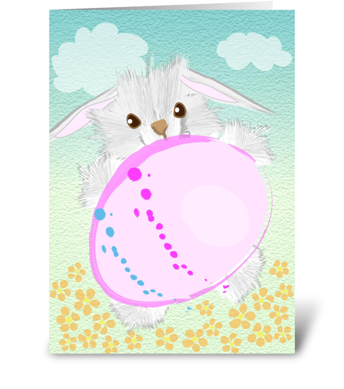 Bunny Easter Hunting greeting card