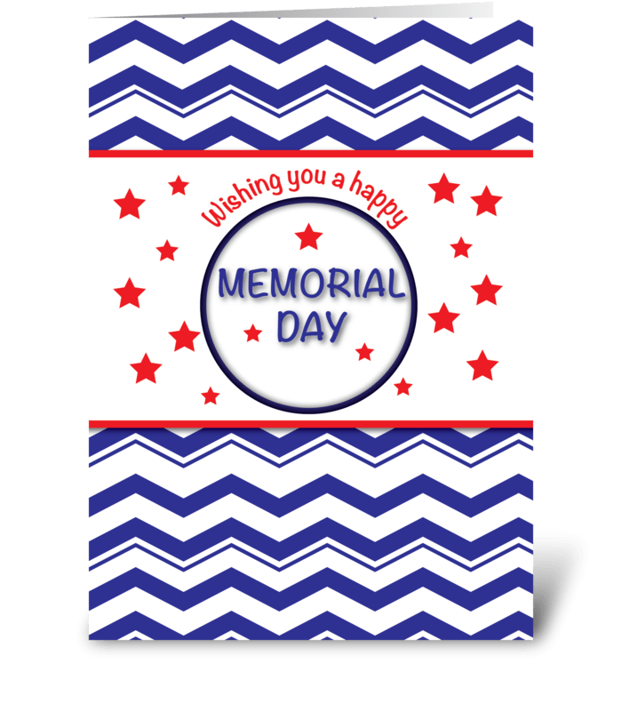 Memorial Day, Patriotic Chevron Stripes greeting card