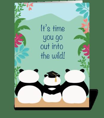 Pandas Graduation greeting card