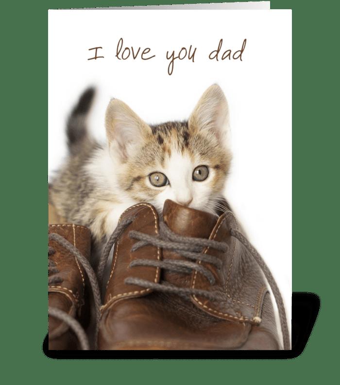 Kitten Love You Dad greeting card