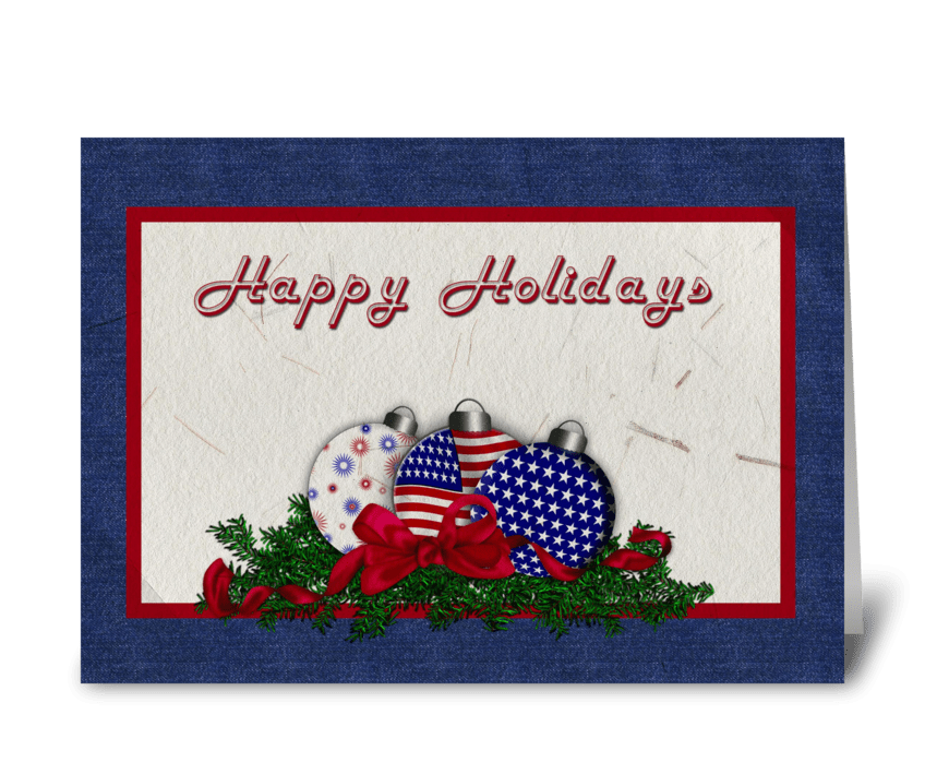 Patriotic Christmas Ornaments  greeting card