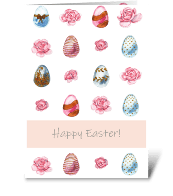 Easter card with easter eggs and flowers greeting card
