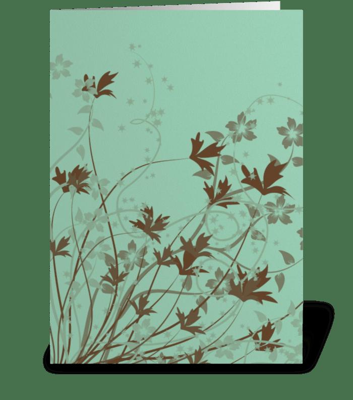 Brown Flowers greeting card