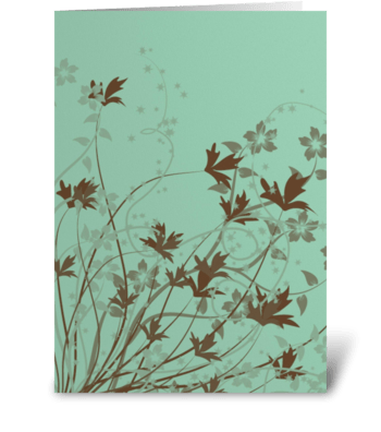 Brown Flowers greeting card