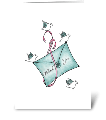 Thank You Birds Holding an Envelope greeting card