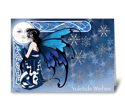 Winter Moon Fairy greeting card