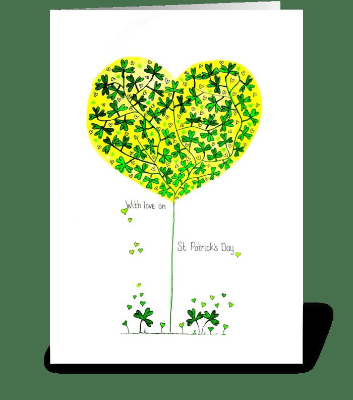 St Patricks Clover Heart Tree greeting card