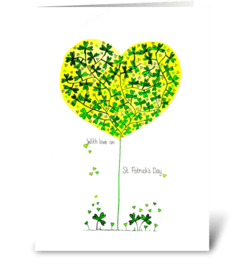 St Patricks Clover Heart Tree greeting card