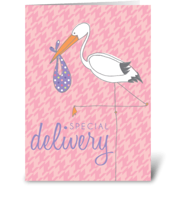 Baby Stork Pink greeting card