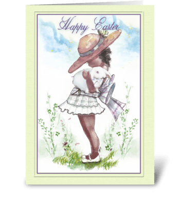 happy Easter, Little Girl and Bunny greeting card