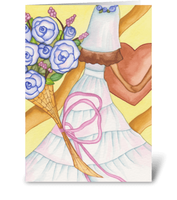 wedding dress greeting card