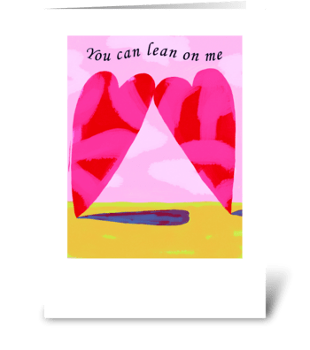 Leaning Hearts greeting card