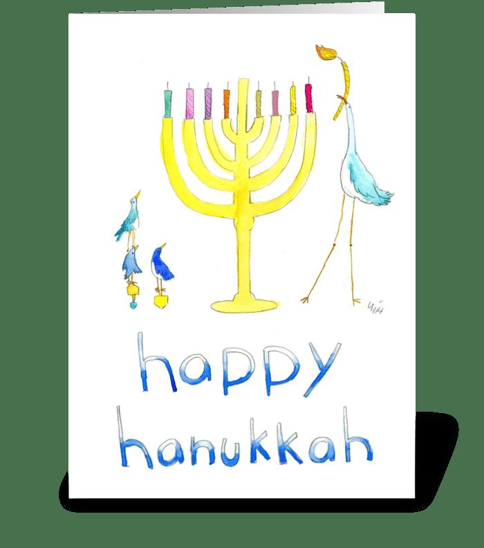 Happy Hanukkah Birds greeting card