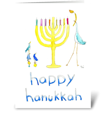 Happy Hanukkah Birds greeting card