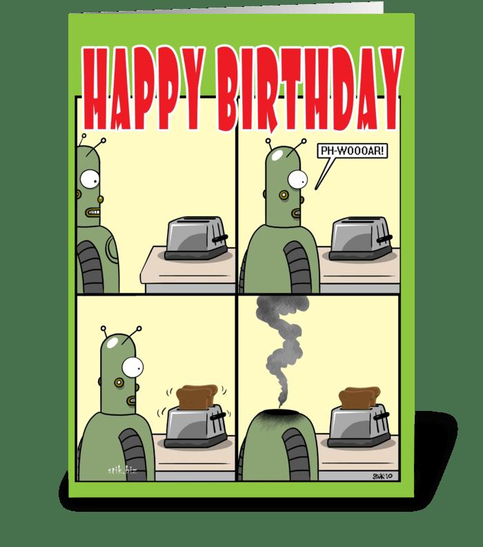 Robot LOVE Birthday card{strip cartoon) greeting card