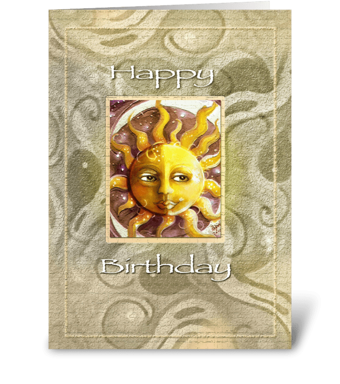 Sun Face, Design Birthday  greeting card