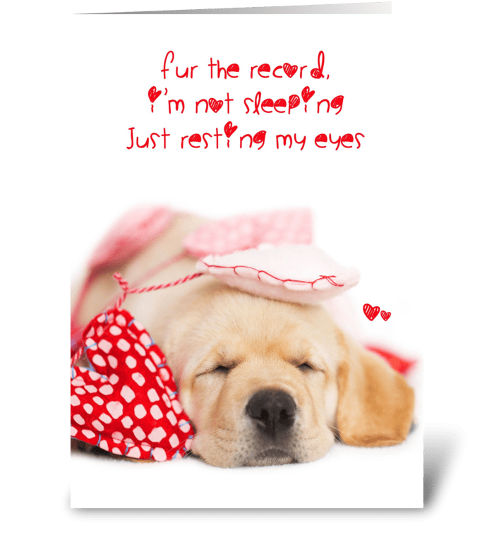 Resting My Eyes Yellow Lab Valentine greeting card
