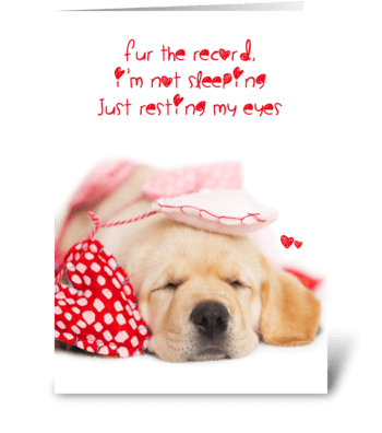 Resting My Eyes Yellow Lab Valentine greeting card