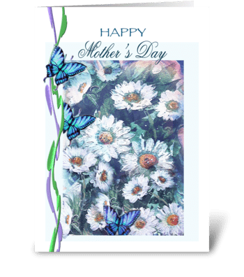 daisies and butterflies, mother's day greeting card