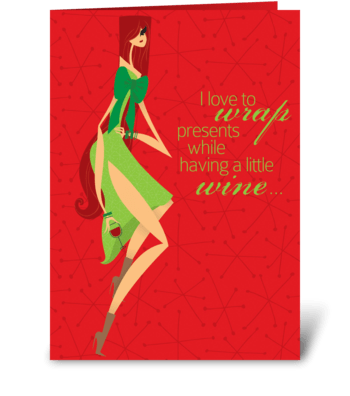 Presents and Wine greeting card