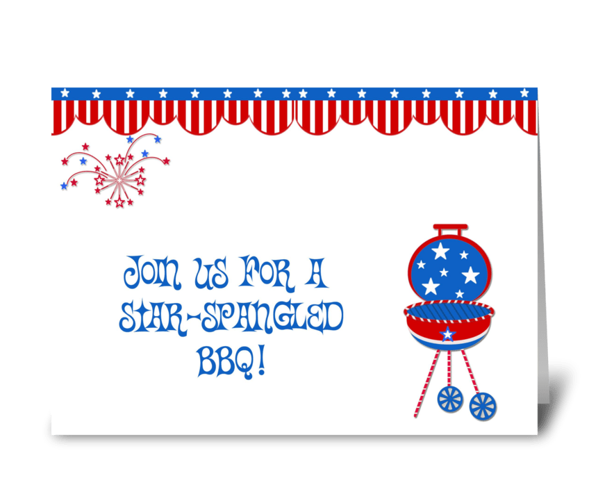 Patriotic Barbecue Invitation greeting card