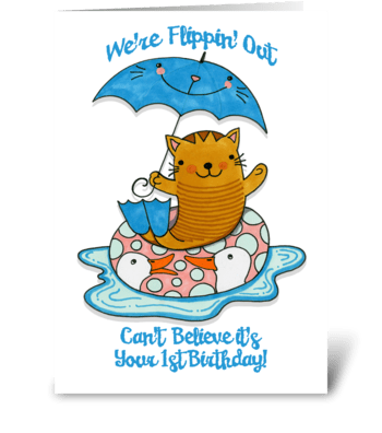 First Birthday Cat Wearing Flippers greeting card