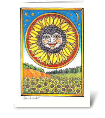 Sunflower Sunface greeting card