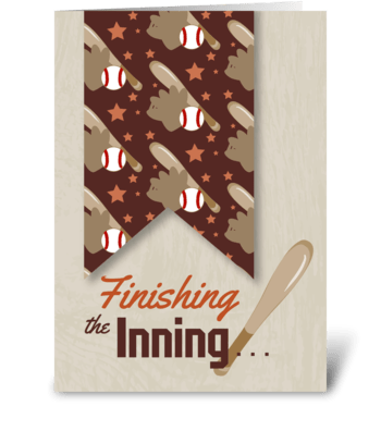 Finishing the Inning - Thanks Baseball greeting card
