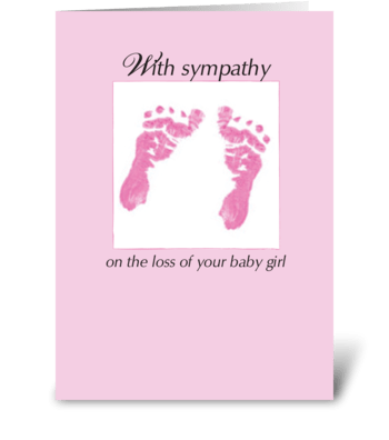 Sympathy Loss of Baby Girl Footprints greeting card