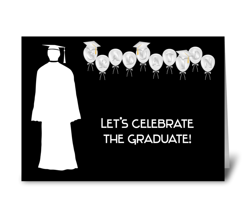 Grad, Male, Balloons, Black & White greeting card