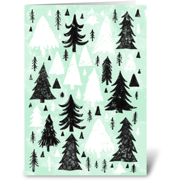 Mint, Black and White Pine Trees greeting card