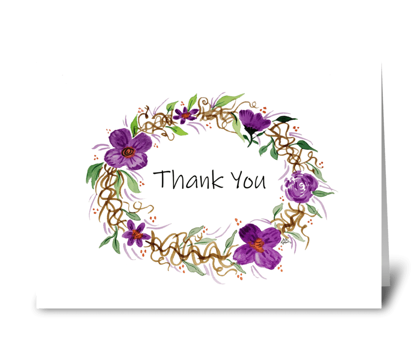 Thank You Watercolor Wreath  greeting card