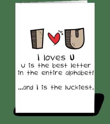 I loves U greeting card
