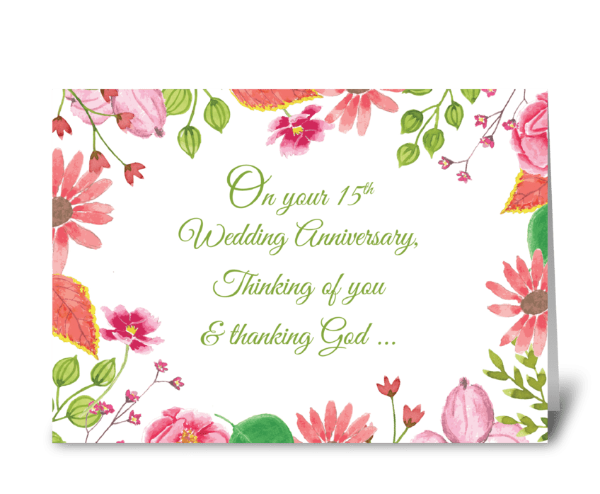 Religious 15th Wedding Anniversary greeting card