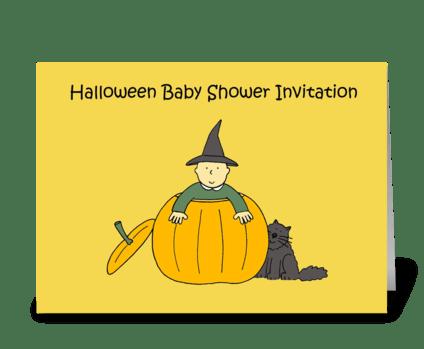 Halloween Baby Shower Invitation. greeting card