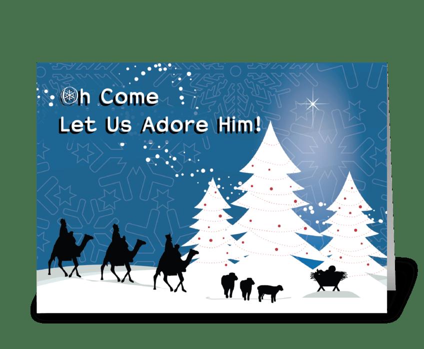 Christmas Manger Scene, Wise Men Star greeting card