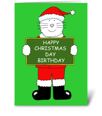 Happy Christmas Day Birthday greeting card